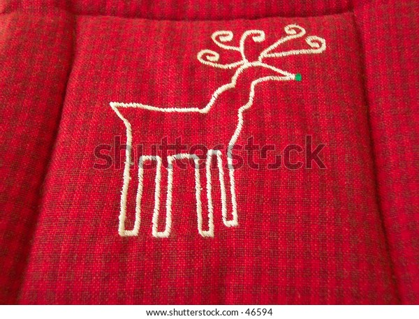 stitched deer on plaid