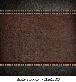 Stitched leather background, brown and black colors