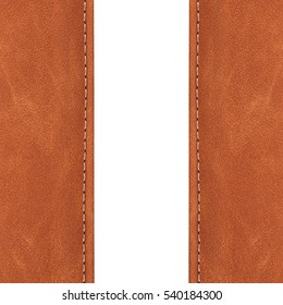 stitched leather brown color on white background