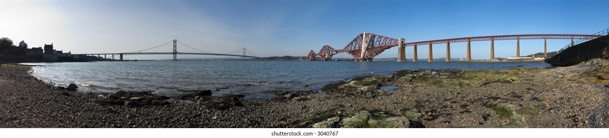 A stitched panorama of 19 photos of the Forth Road and Rail Bridges