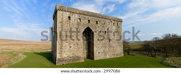 Stitched Panorama of five pictures of Hermitage Castle, Scottish Borders
