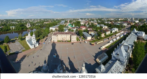 Stitched Panorama. View of the city of Vologda from the observation deck of the bell tower of St. Sophia Cathedral. Vologda region, Russia.