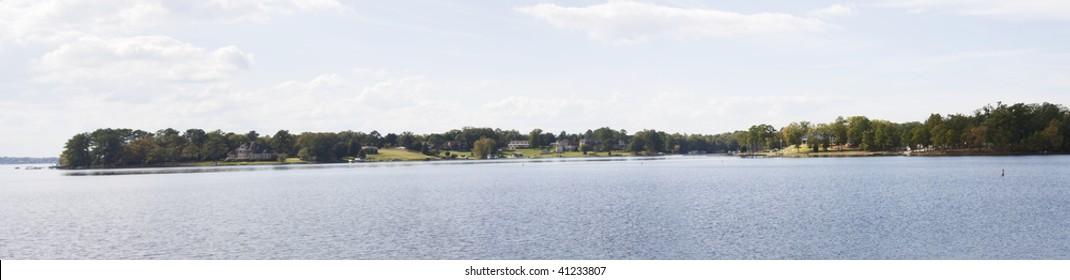 stitched panoramic of Lake Murray near Columbia, South Carolina