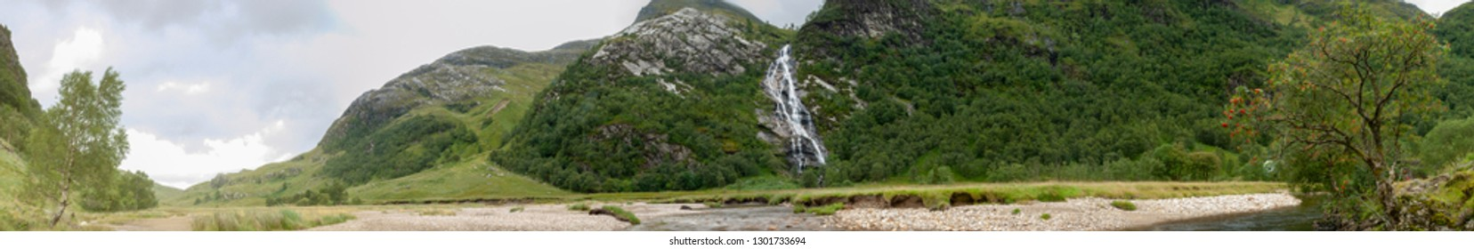 Stitched panoramic view  towards the Mamores near Water of Nevis and Steall Falls from a walk from Polldubh and Achriabhach in the foot hills of Ben Nevis, Highlands, Scotland