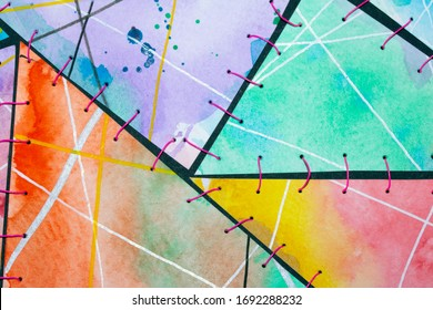 Stitched Together Abstract Watercolour Art Background Vibrant Triangles