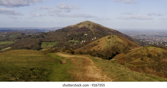A stitched together panorama looking along the malvern hills, Worcestershire, UK