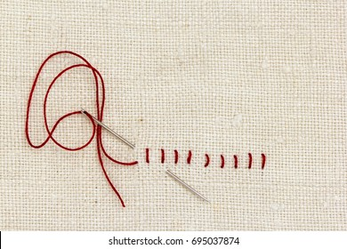 Stitches and needle - proverb: One stitch in time saves nine.