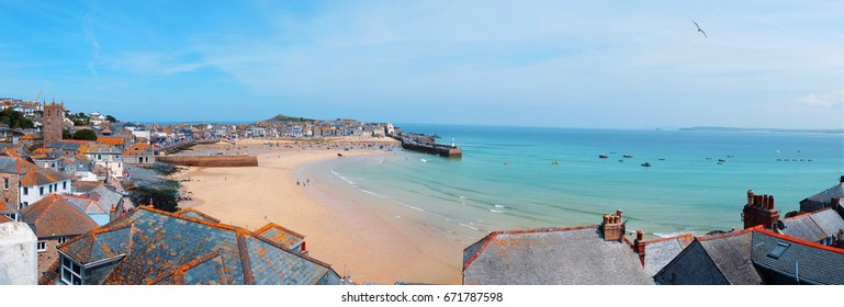 St.Ives panorama, harbor and beach, Cornwall
