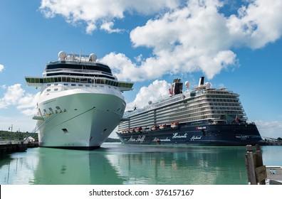 ST.JOHN'S ANTIGUA AND BARBUDA: NOV 24, 2015: Cruise ships Eclipse (Celebrity Cruises) and Mein Schiff 3 (Tui Cruises) docked in port of St John's Antigua on november 24th, 2015.