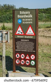 St.Lucia, South Africa - August 19, 2013: estuary boardwalk attention signal Isimangaliso wetland park.