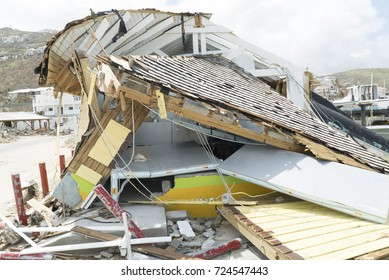 St.Maarten Oyster Pond September 2017: Hurricane Irma category 5 completely damage a store building to the ground
