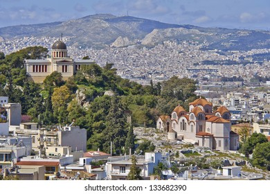 St.Marei and the national observatory, Athens cityscape, Greece