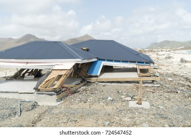 St.Martin orient bay September 2017: Hurricane Irma category 5 storm brings down a beach store to the ground.