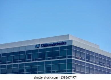STMicroelectronics sign on Silicon Valley office. It is a French-Italian semiconductor manufacturing company headquartered in Geneva, Switzerland - Santa Clara, California, USA - May 11, 2019