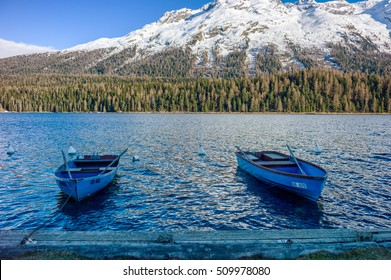 St.Moritz Engadine Lake with Boats