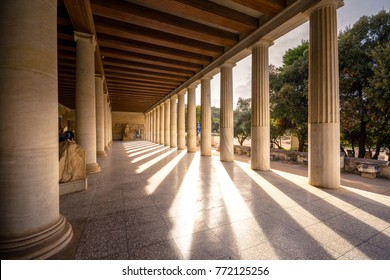 Stoa of Attalos, in the Agora of Athens, Greece. It was built by King Attalos II of Pergamon, typical of hellenistic age under the rock of Acropolis.