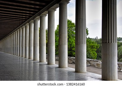 Stoa of Attalos in Athens, Greece. Impressive building in Ancient Agora archeological site. Great perspective from columns.