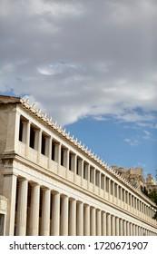 stoa of attalos, Athens Greece, parthenon on the background