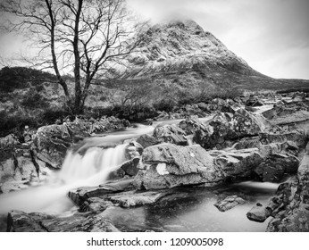 The Stob Dearg peak of Buachaille Etive Mor at the entrance to Glen Coe. Scottish highlands in early spring.