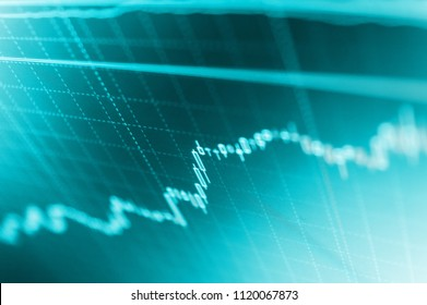 Stock analyzing. Candle stick graph chart of stock market investment trading. Data on live computer screen.  Selective focus creative effect. Graph of Cryptocurrency market.
