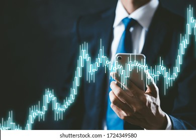 Stock chart and businessman in suit