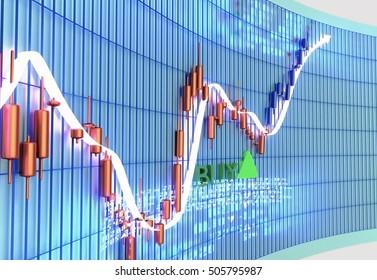stock chart , trading terminal , 3d