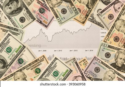 stock chart and US money as background. view from above .