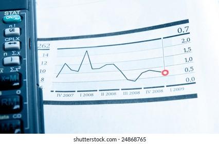 Stock charts. Toned blue.