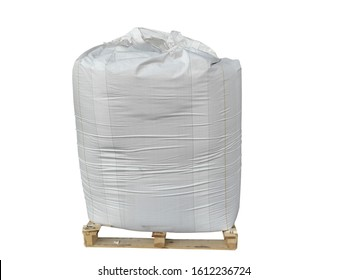 Stock Chemical fertilizer Urea   jumbo-bag in warehouse waiting for shipment.Put on wooden pallets on the White Background