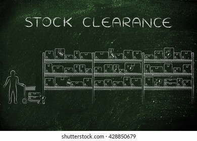 stock clearance: customer with shopping cart walking through warehouse style aisle in a store