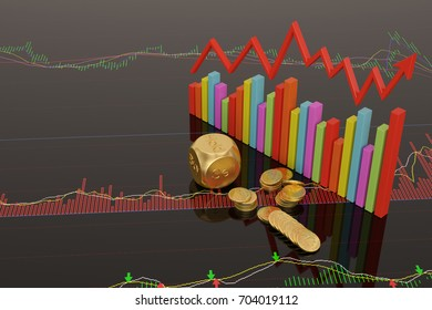 Stock concept dices and coins on stock chart.3D illustration.
