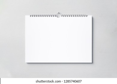 Stock cover Wall calendar mock up on a gray background. High resolution.