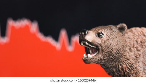 Stock crash with red chart bearish drop in background and bear in front. Market trend concept.