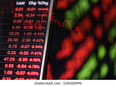 Stock crisis red price drop down chart fall on screen / Stock market exchange analysis graph business and finance money losing moving economic inflation deflation investment loss crash