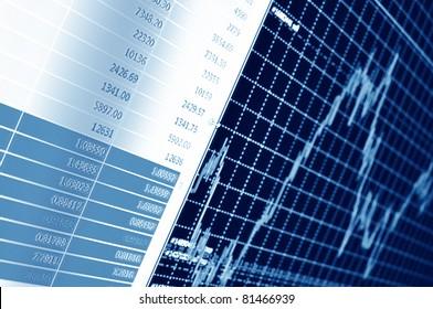 Stockdiagramm auf dem Bildschirm