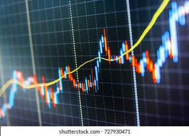Stock diagram on the screen. Display of quotes pricing graph visualization. Stock market chart, graph on blue background. Shallow DOF. Stock market graph on the screen.