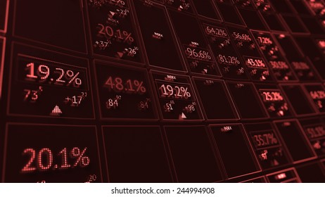 Stock display panel with random digits and indexes