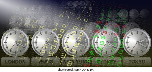 A stock exchange board and clocks showing times in different cities / Stock exchange clocks