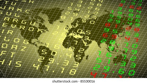 A stock exchange board with the World in the background / World stock exchange