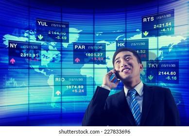 Stock Exchange Business Global Analyze Talk Phone Concept