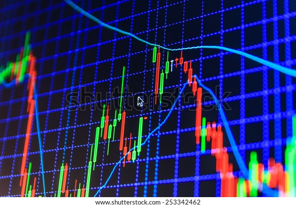 Stock exchange business screen data graph background.