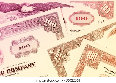 Stock exchange certificates - share investment.
