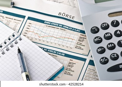 stock exchange diagram with calculator