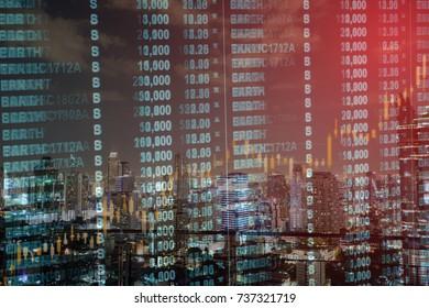 Stock exchange graph chart analysis global financial statistic data
