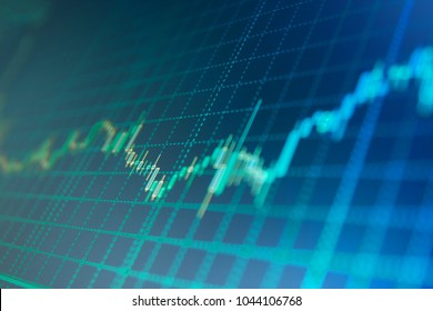 Stock exchange graph. Statistic graph of stock market data and financial analysis. Stock market and other finance themes. Big data on LED panel. Stock market quotes on display.