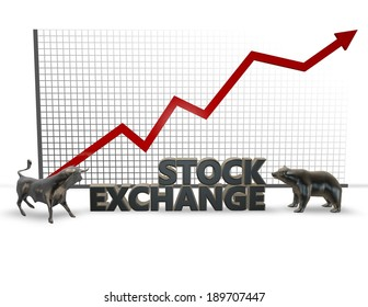 stock exchange illustration with bull and bear isolated,  securities market idea