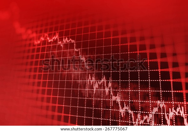 Stock exchange loss red screen. Symbol of recession, falling prices, failure. Stock candlebar chart graph on monitor screen display of trader computer. Shallow depth of field.