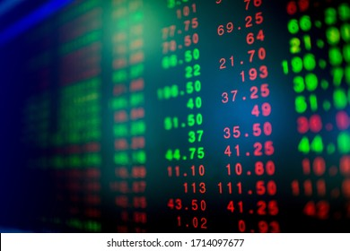Stock exchange market business concept with selective focus effect. Display of Stock market quotes. Red and green numbers on the electronic board.