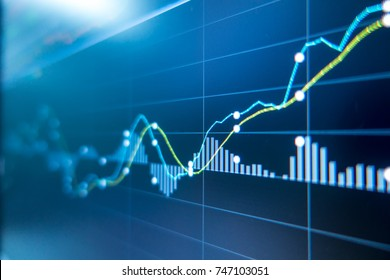 Stock exchange market graph analysis background