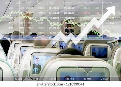 Stock financial index show successful investment on airline business and travel industry with graph chart and data number background.